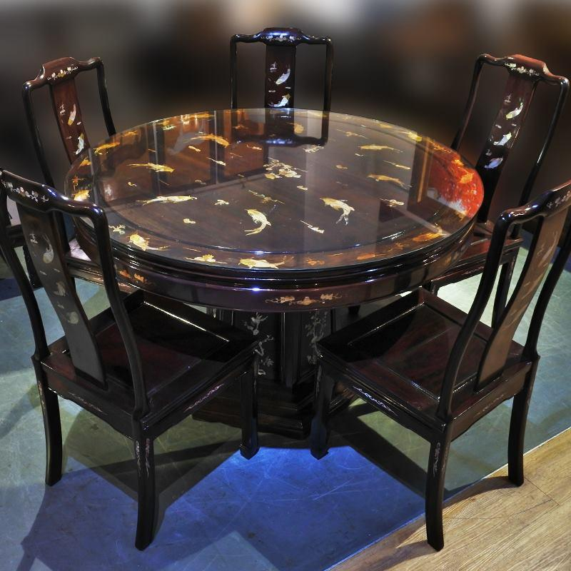Oriental Rosewood Dining Set With Glass Top ( Pre-Owned Refurbished Furniture) By Cashconverters.