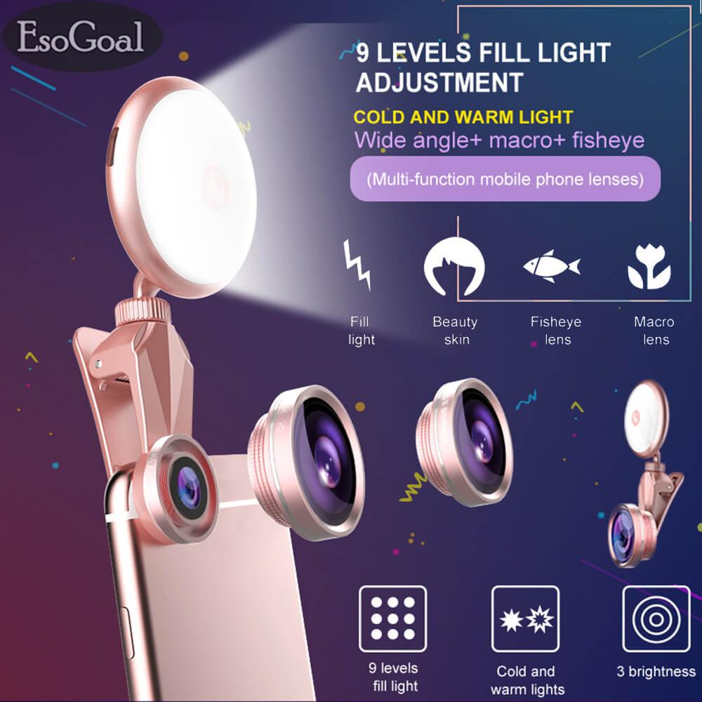 Esogoal Phone Camera Flash Light, Selfie Ring Light, 3 Levels Of Brightness 4k Hd Wide Angle Lens + 185° Fisheye Lens + 50x Macro Lens, Rechargeable Clip On Selfie Light For Smart Phones By Esogoal.