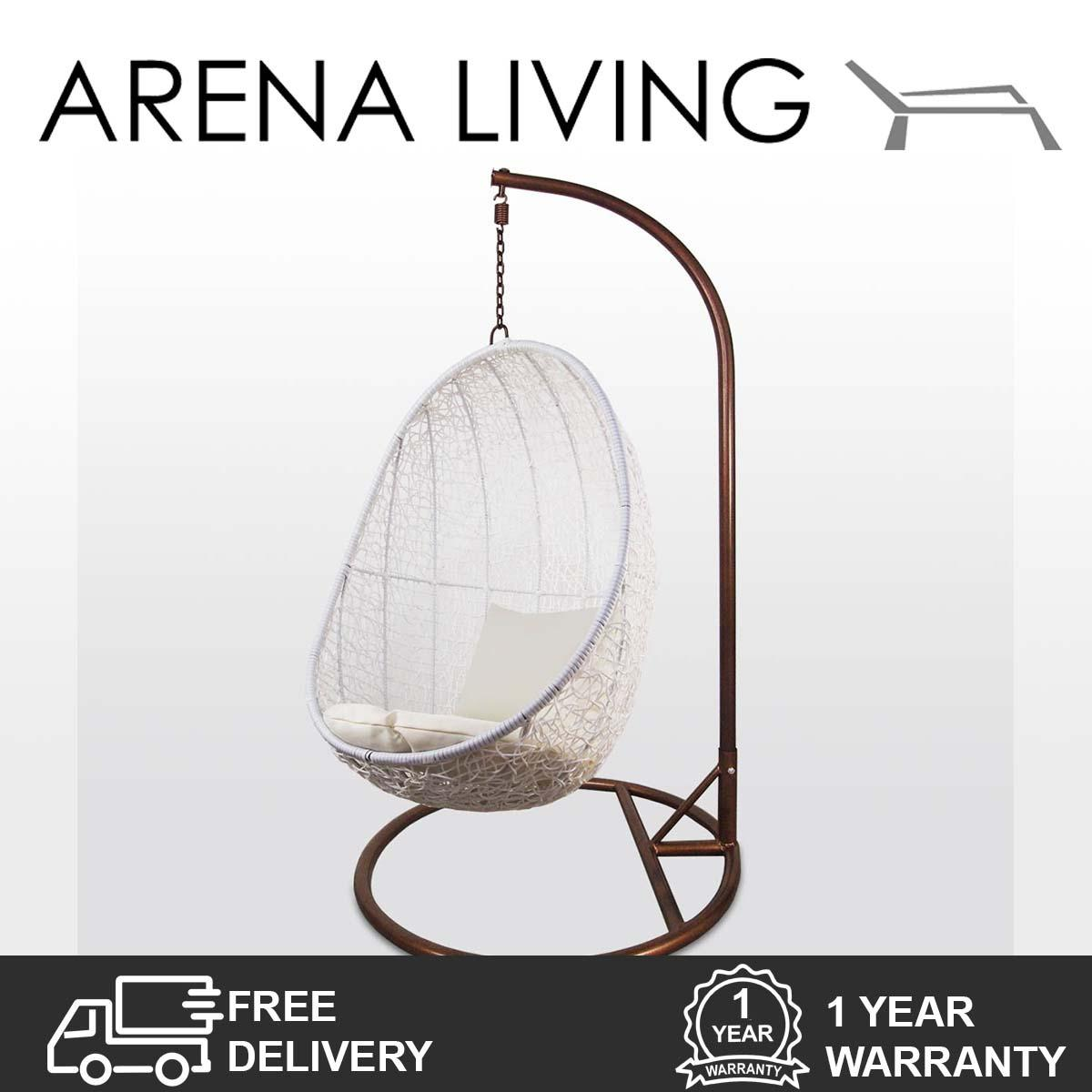 Shop For White Cocoon Swing Chair White Cushion Outdoor Furniture By Arena Living™