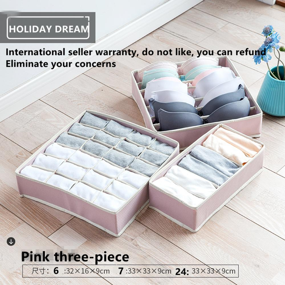 3Pcs/Set Storage Box Sock Bra Underwear Ties Drawer Closet Drawer Organizer Storage Box Home Storage Fabric Organization Set