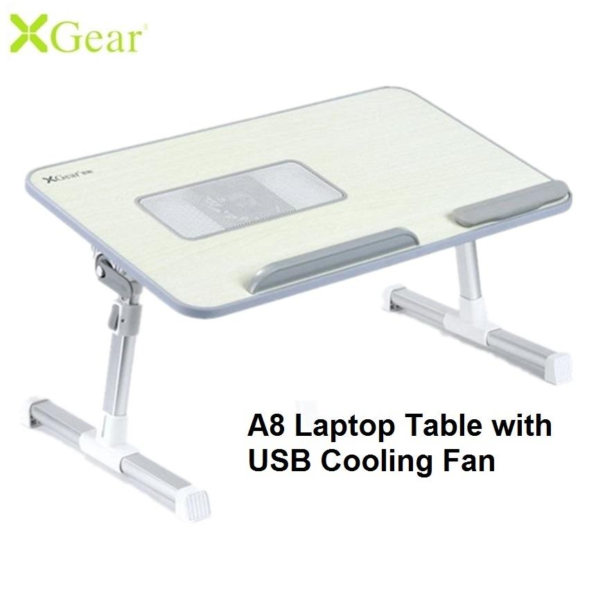 Xgear A8 (520 x 300 x 9mm) Foldable Laptop Table Adjustable Height and Angle with USB Cooling Fan Desk