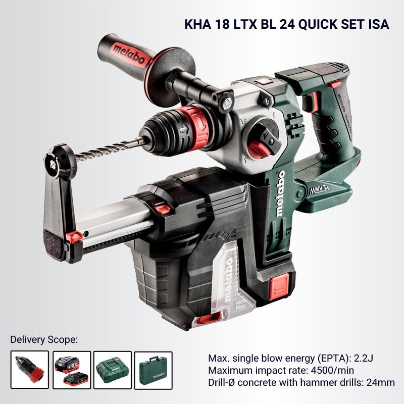 KHA 18 LTX BL 24 QUICK Cordless Hammer Set (Optional Dust Extractor, Battery, Charger, Drill Guide, Carry Case)