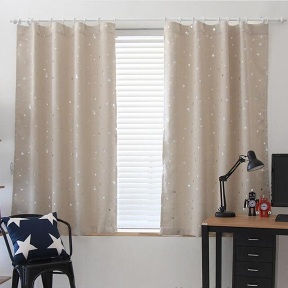 Full Blackout Shading Stars Bedroom Balcony Curtains Hook Grommet PurdahBeige