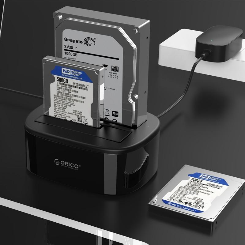 ORICO 6228US3-C 1 to 1 Clone 2 Bay USB 3.0 Type-B to SATA External Storage Hard Drive Dock for 2.5 inch / 3.5 inch SATA HDD / SSD - intl