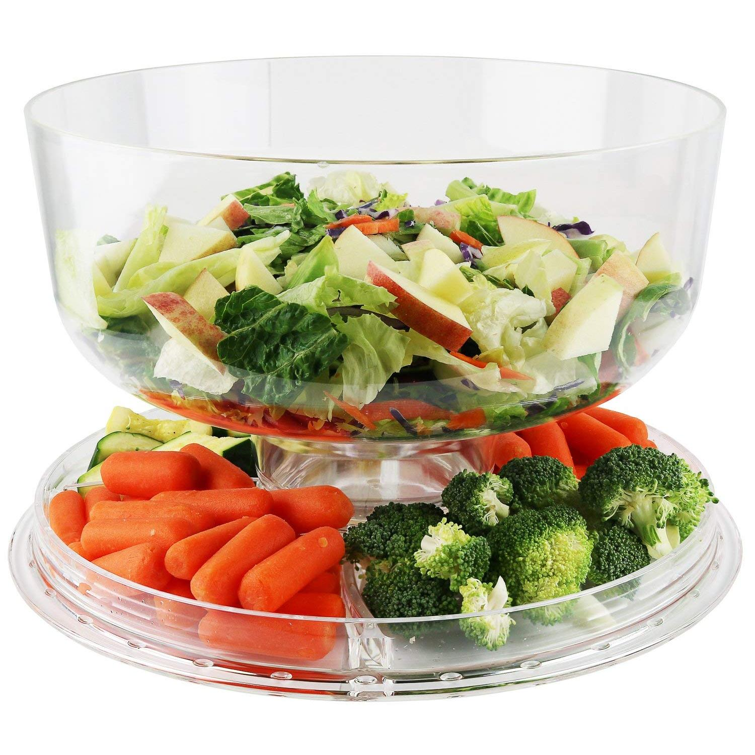 Multi-Function Cake Stand 6-In-1 Salad Serving Set With 5 Compartment Tray And Center Dip Bowl By Kitchen+ware.
