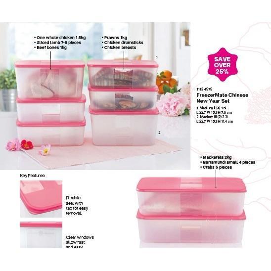 Discounted Tupperware Pink Freezermate Set 8Pcs Fridge Storage Keep Food Fresher