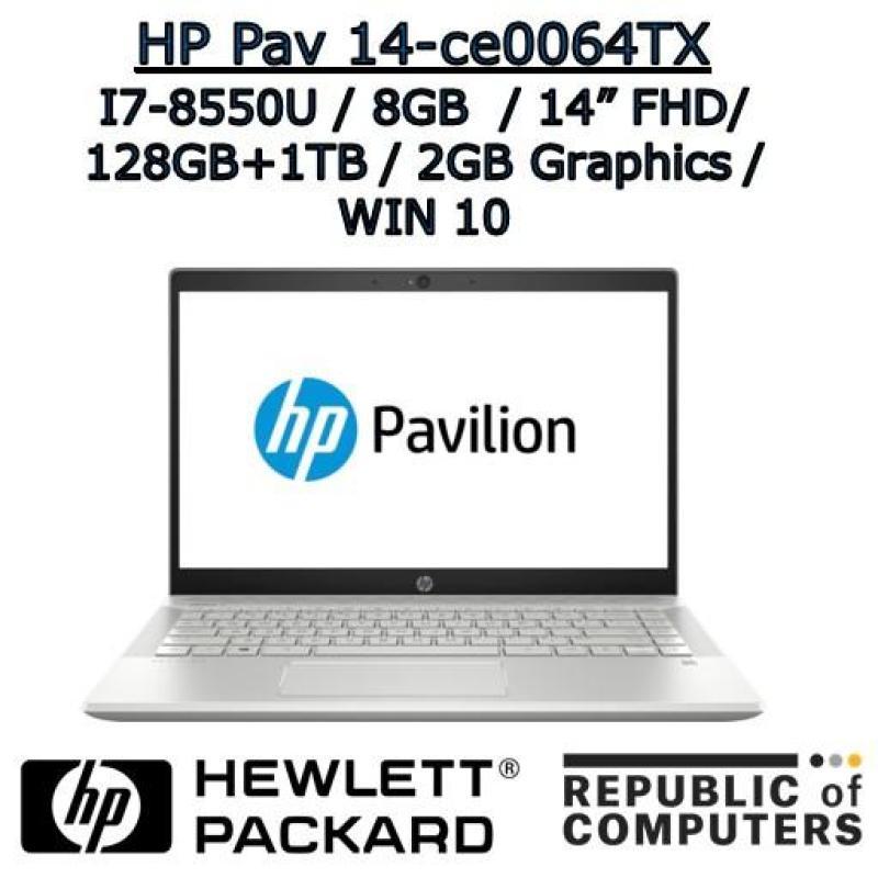 HP PAVILION NOTEBOOK 14-ce0064TX I7-8550U / 8GB / 128GB+1TB / 2GB NVIDIA / 14 FHD IPS / WINDOW 10