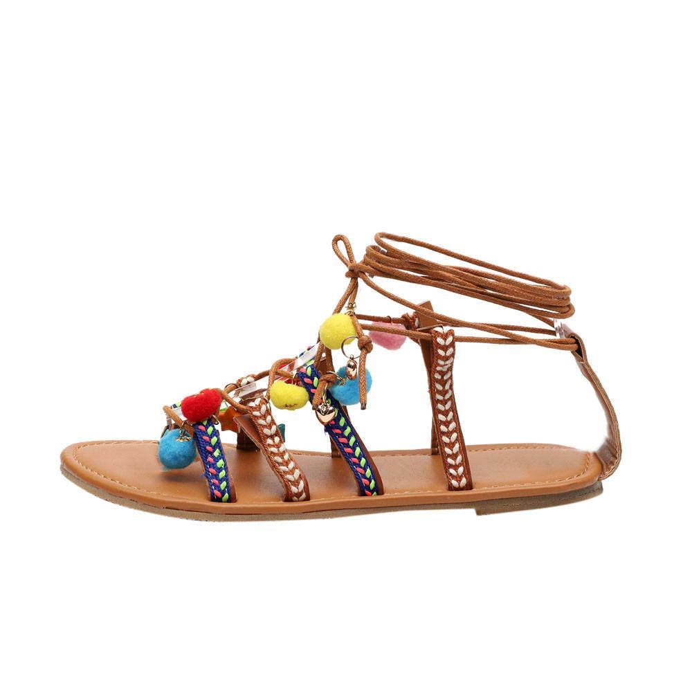 Women Bohemia Sandals Gladiator Leather Sandals Flats Shoes Pom-Pom Sandals Gouldshop - Intl By Gouldshop.