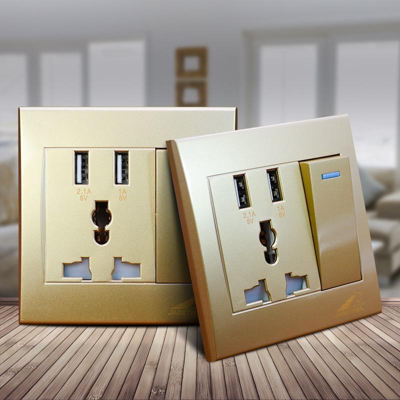 JADETIGER Gold 2.1A Dual USB Wall Charger Socket Adapter Universal Power Outlet Panel w/ Switch - intl