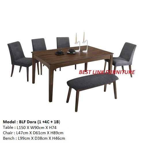 BEST LINK FURNITURE BLF Dora (1 + 4 + 1) Dining Table Set