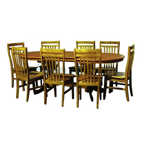 Furniture Living 1+8 Extendable Wooden Dining Set (Cherry)