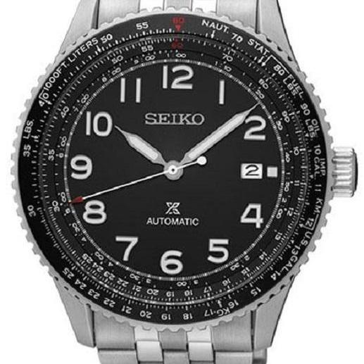 Made In Japan Brand New Seiko Prospex Flight Master Automatic Mens Casual Watch In Black Dial Stainless Steel Bracelet Srpb57J Sale