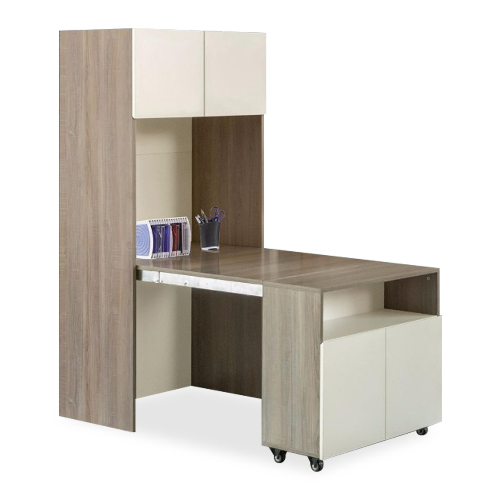 Ancil Extension Study Table With Book Cabinet (FREE DELIVERY)(FREE ASSEMBLY)