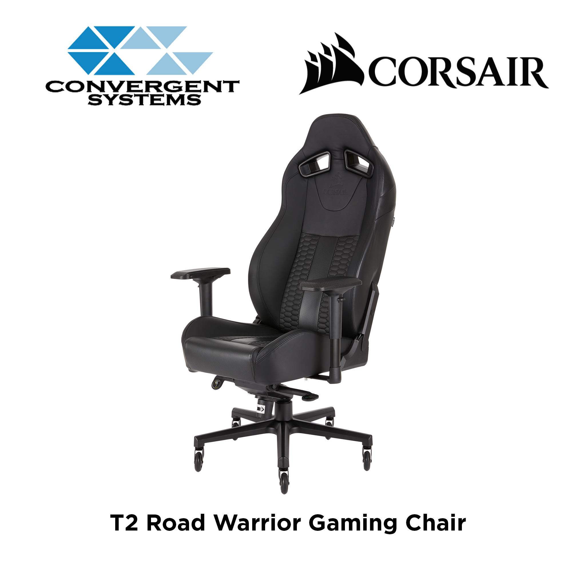 Corsair T2 Road Warrior Gaming Chair - Black / Black Stripes