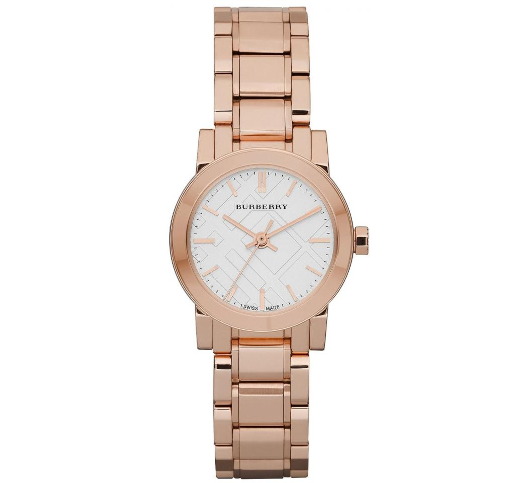 Burberry Rose Gold 26mm White Dial Stainless Steel Ladies Watch Bu9204 By Watch Centre.