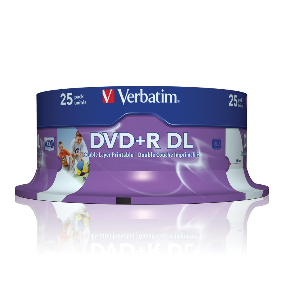 Verbatim DVD+R Double Layer AZO 25pcs per cake box 8.5gb 8x 240min