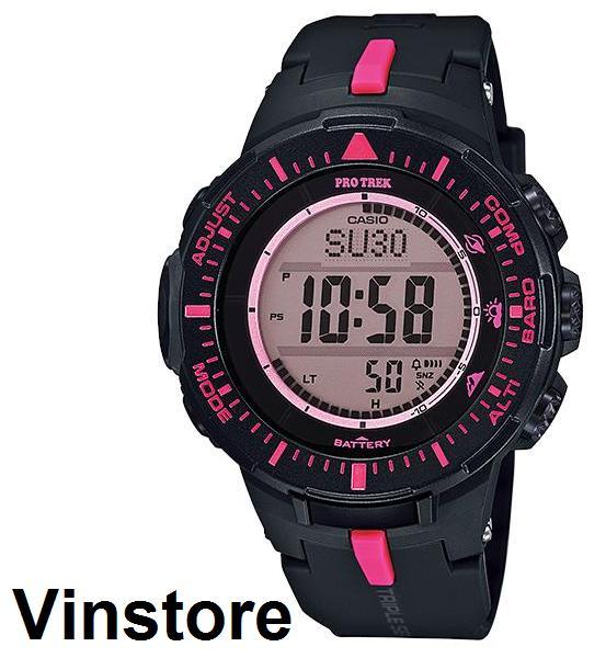 CASIO PROTREK PRG-300 Triple Sensor Solar Watch Black Strap Pink Women  Sport Watch PRG 64e0dea66