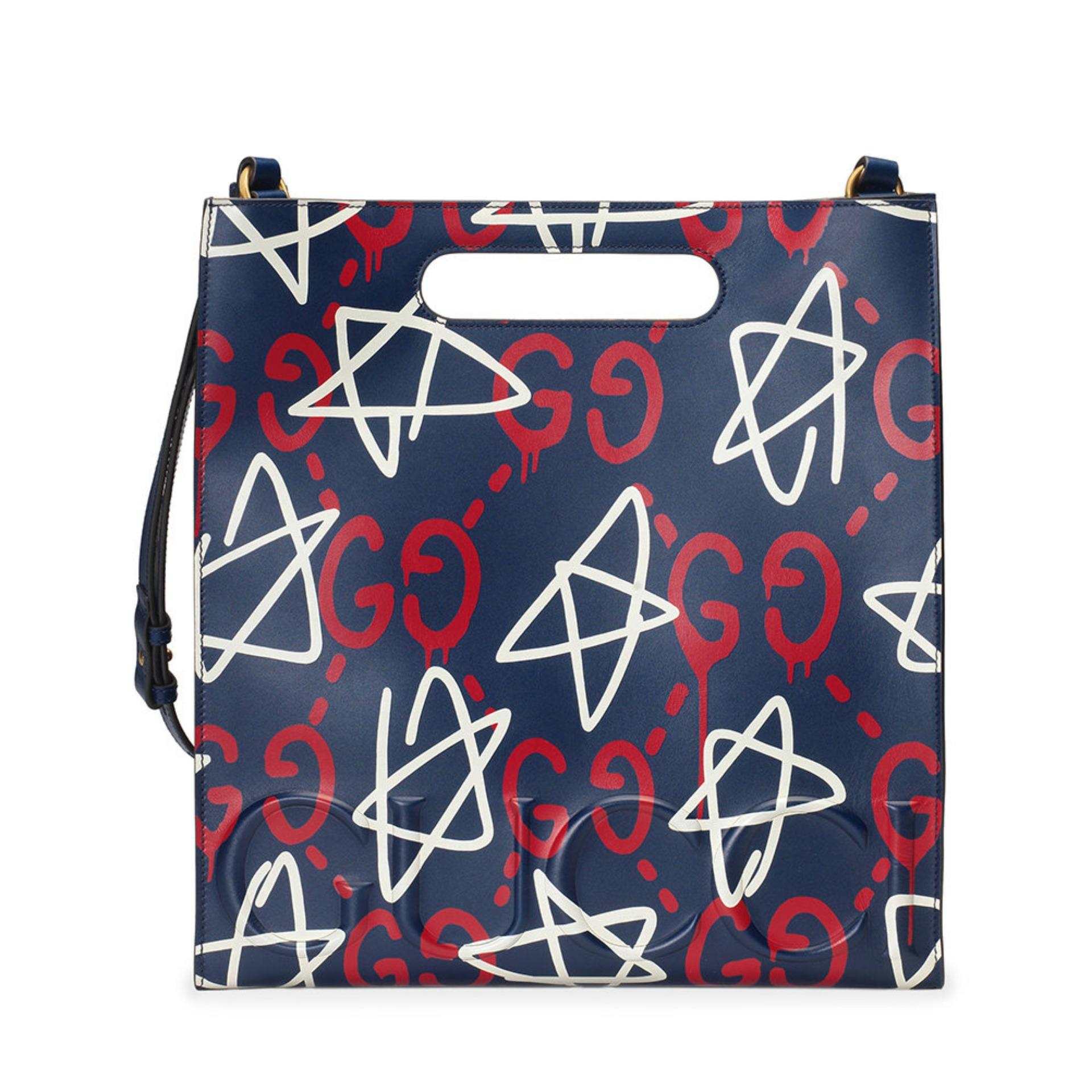 82c6239b0a3b Gucci Ghost Leather Tote Bag (Prints) # 414476DSUCT4180