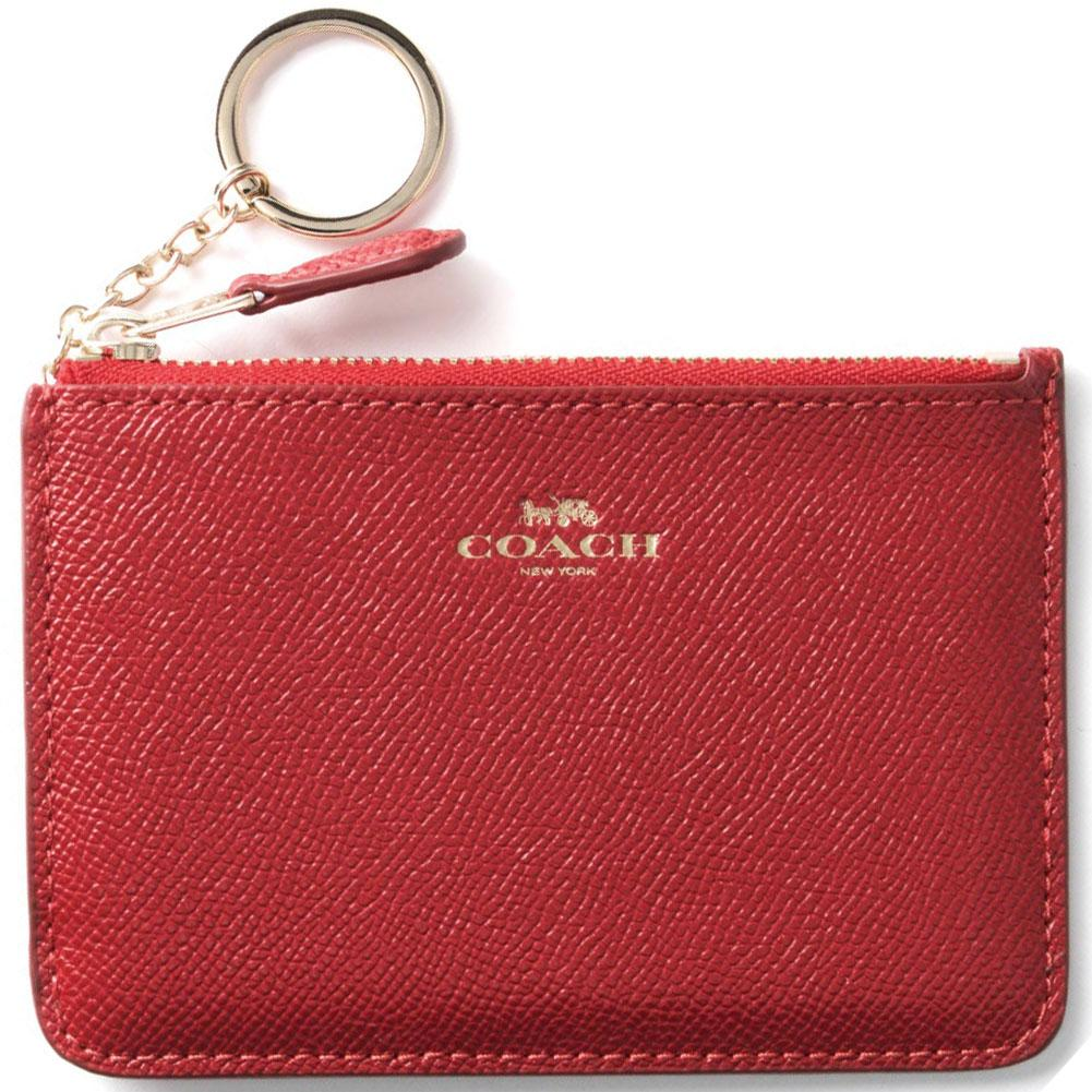 Coach Mini Skinny Id Case In Crossgrain Leather Wristlet True Red  F12186 + Gift Receipt By Spreesuki.