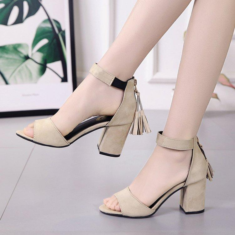 c5e1f5cac4fb51 Europe And America New Style Sandals Female Summer 7 Cm Semi-high Heeled  Straight-