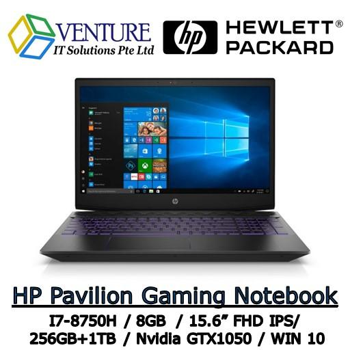 HP PAVILION GAMING NOTEBOOK 15-cx0113TX I7-8750H / 8GB / 256GB + 1TB / 15.6 FHD / NVIDIA GTX1050 / WINDOW 10