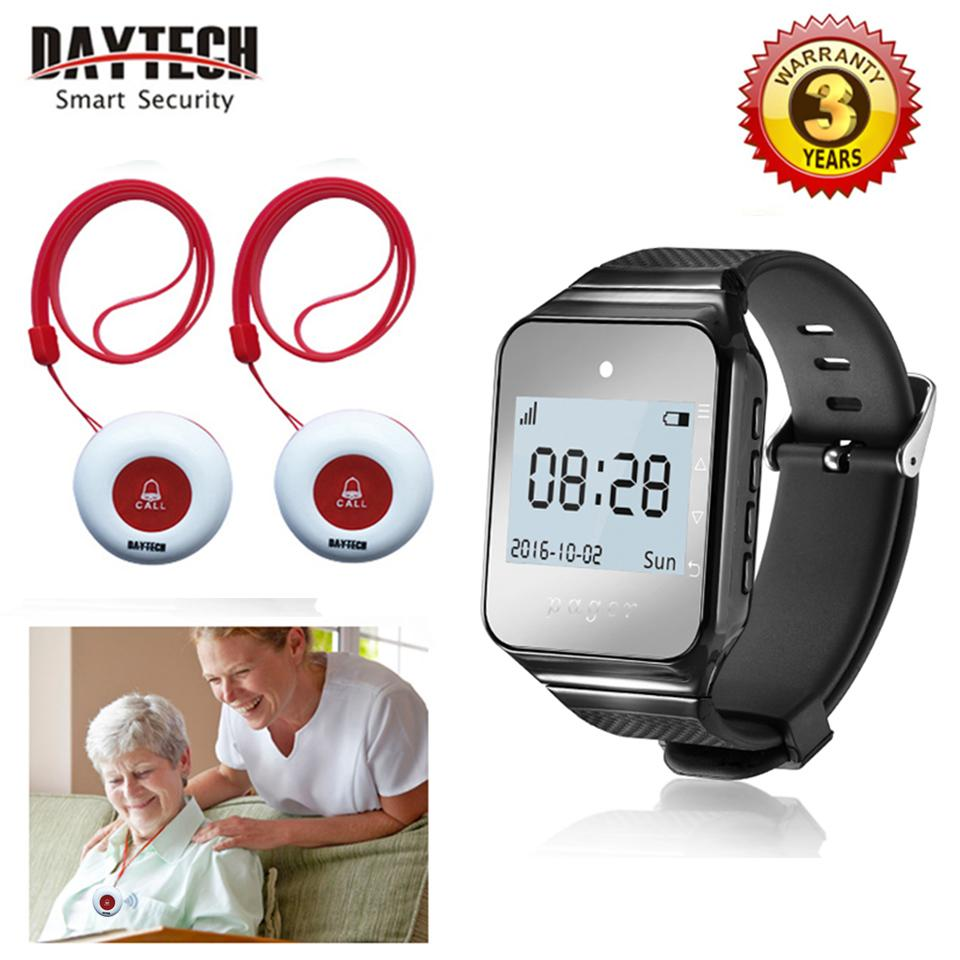 New Wireless Nurse Medical Call Alert Bell Paging System Caregiver Pager Nurse Call Alert For Elder Patient Disable At Nursing Home 1Pc Wearable Pager Watch And 2Pcs Portable Waterproof Call Buttons