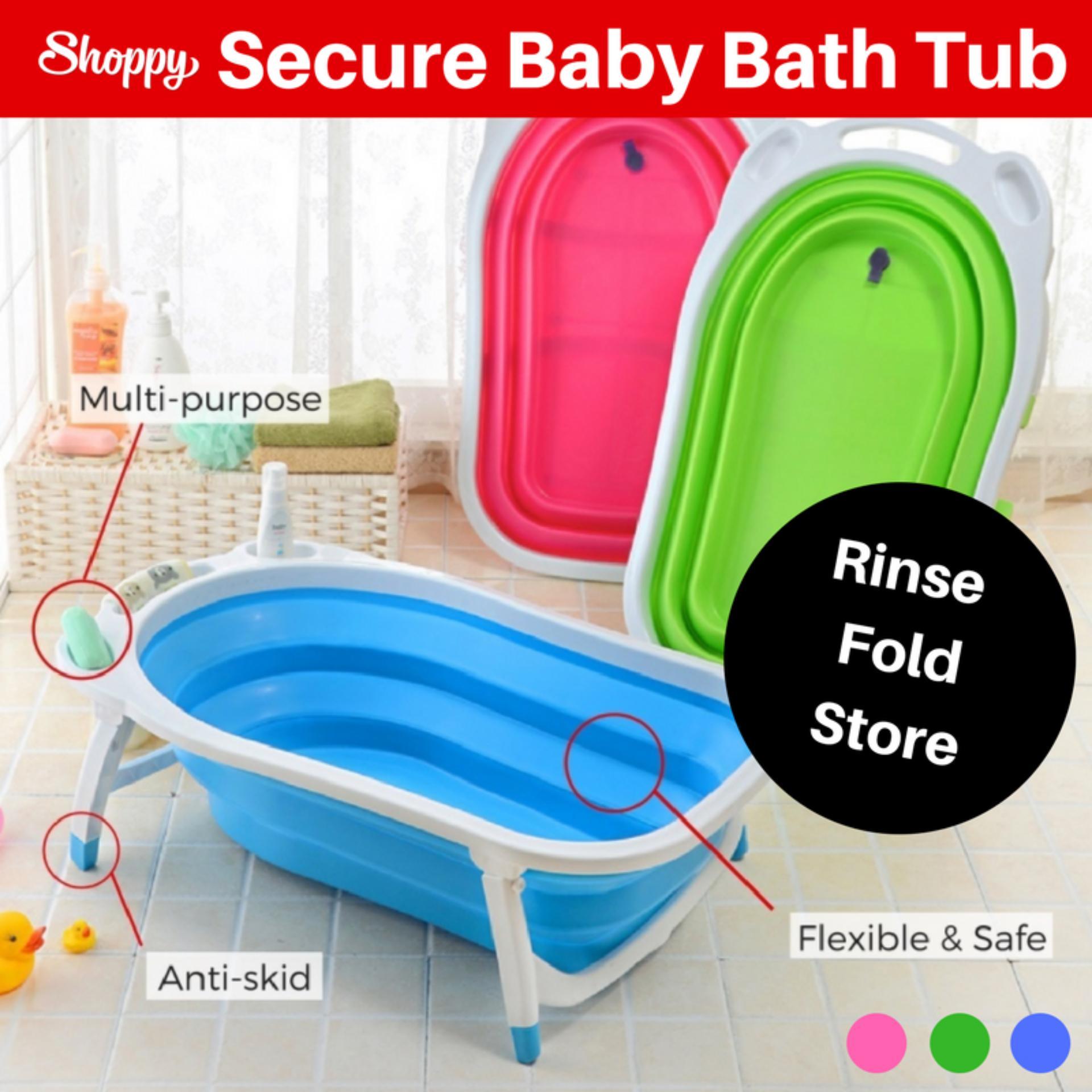 Shoppy Foldable Space Saving Secure Baby Bath Shower Tub Free Shipping