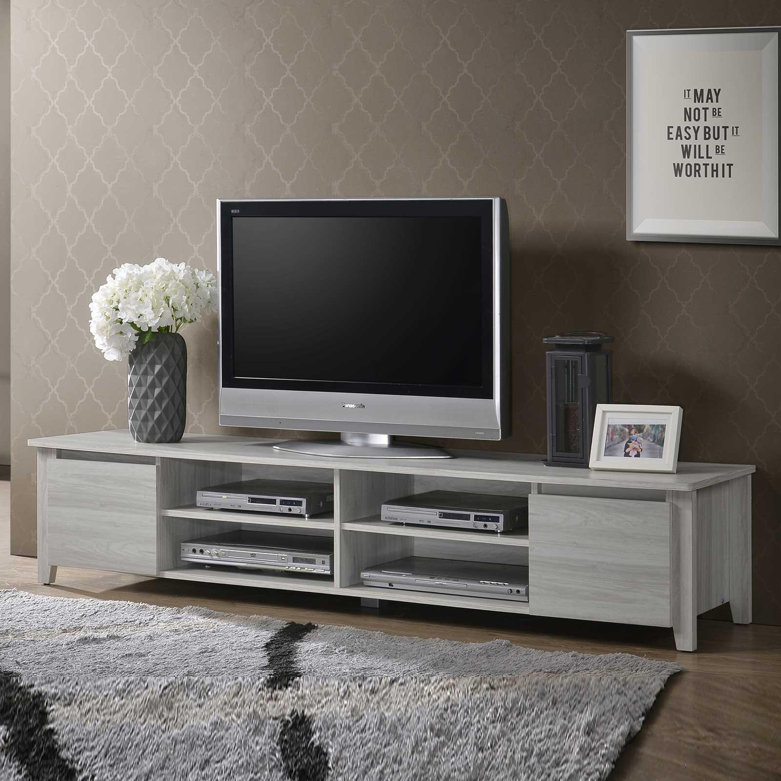 TV Console - 6ft / 1.8m in White Oak Cabinet Shelves Stand Entertainment Unit⭐ E-LIVING Furniture