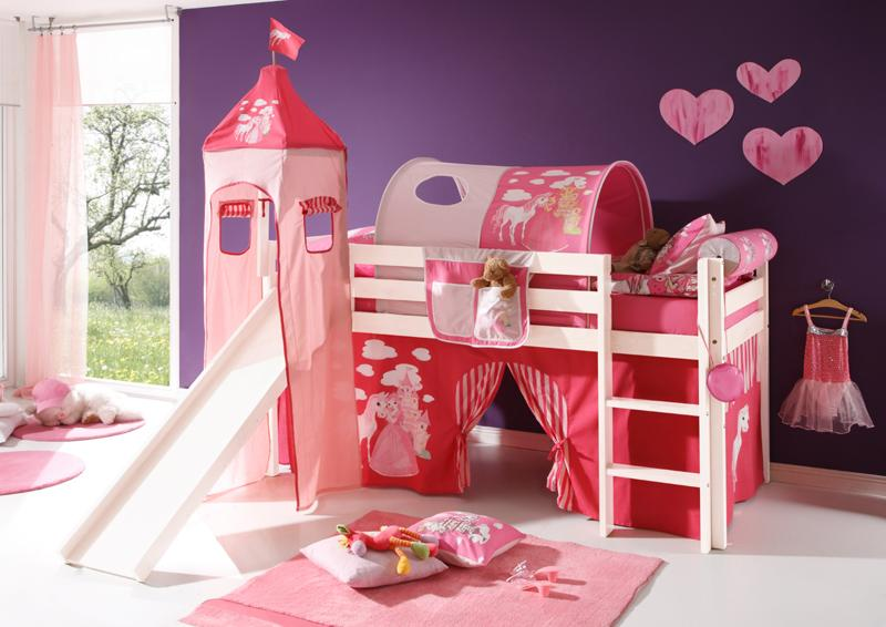 Loft Bed with Slide (White) - Solid Pine, toxic free, German safety specification - Children playroom