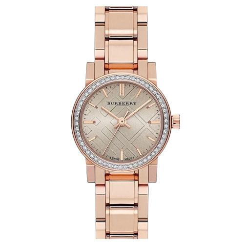 Burberry Rose Gold Bu9225 Dial Diamond Ladies Swiss Made Watch By Singapore Outlet Store.