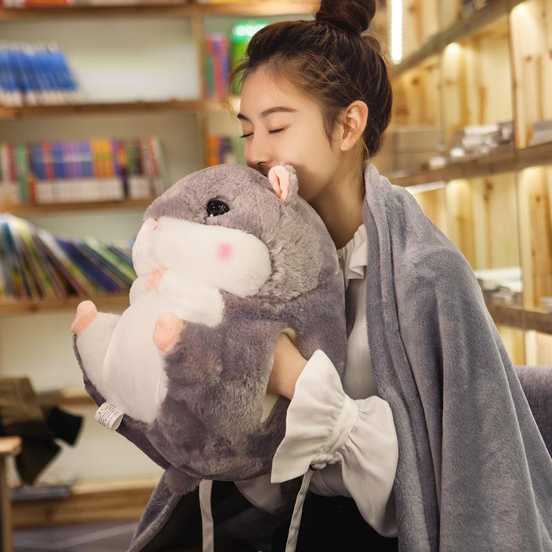 Hamster Warm Pillow Blanket Dual Purpose Car Office TAKEANAP Pillow Coral Velvet Air Conditioner Blanket Three-in-One Female