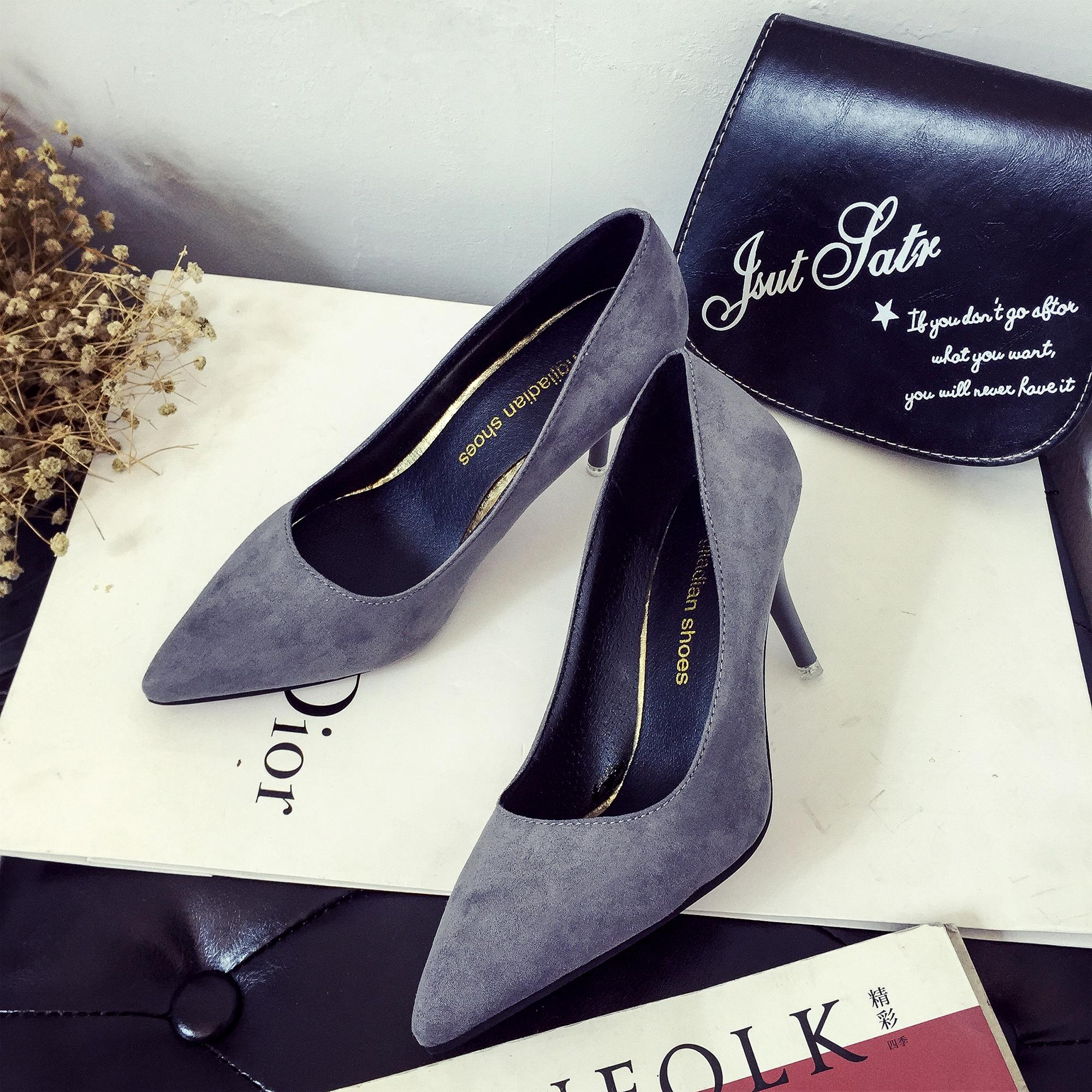 Pointed Shoes Female Spring And Autumn New Style Sexy Thin Heeled High Heel Shoes Suede Simple Shallow Mouth Wedding Shoes Professional Semi-High Heeled Womens Shoes By Taobao Collection.