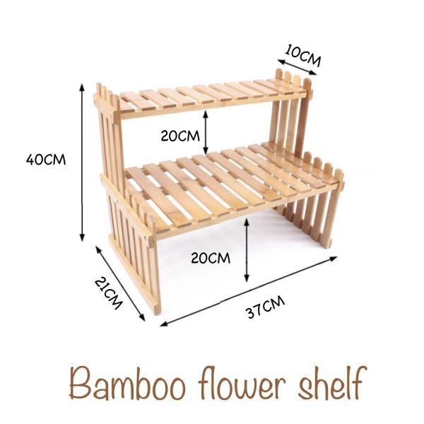 Quality bamboo flower mini shelf office table organiser DIY open storage company gift exchange idea FSV018