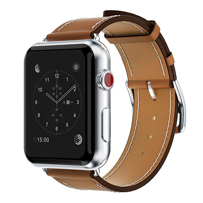 Genuine Leather Watchband 42Mm For Watch Loop Strap With Metal Clasp Adapters Replacement Bracelet For Watch Series 3 2 1 Sport Edition Singletour Cuff Discount Code