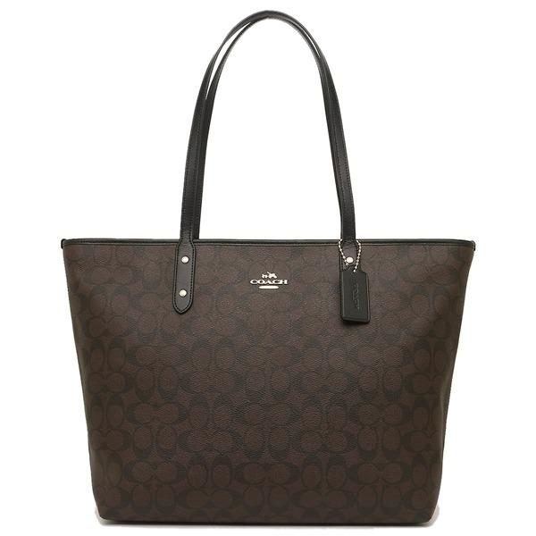 Coach F14929 Large City Zip Tote In Signature Coated Canvas Dark Brown