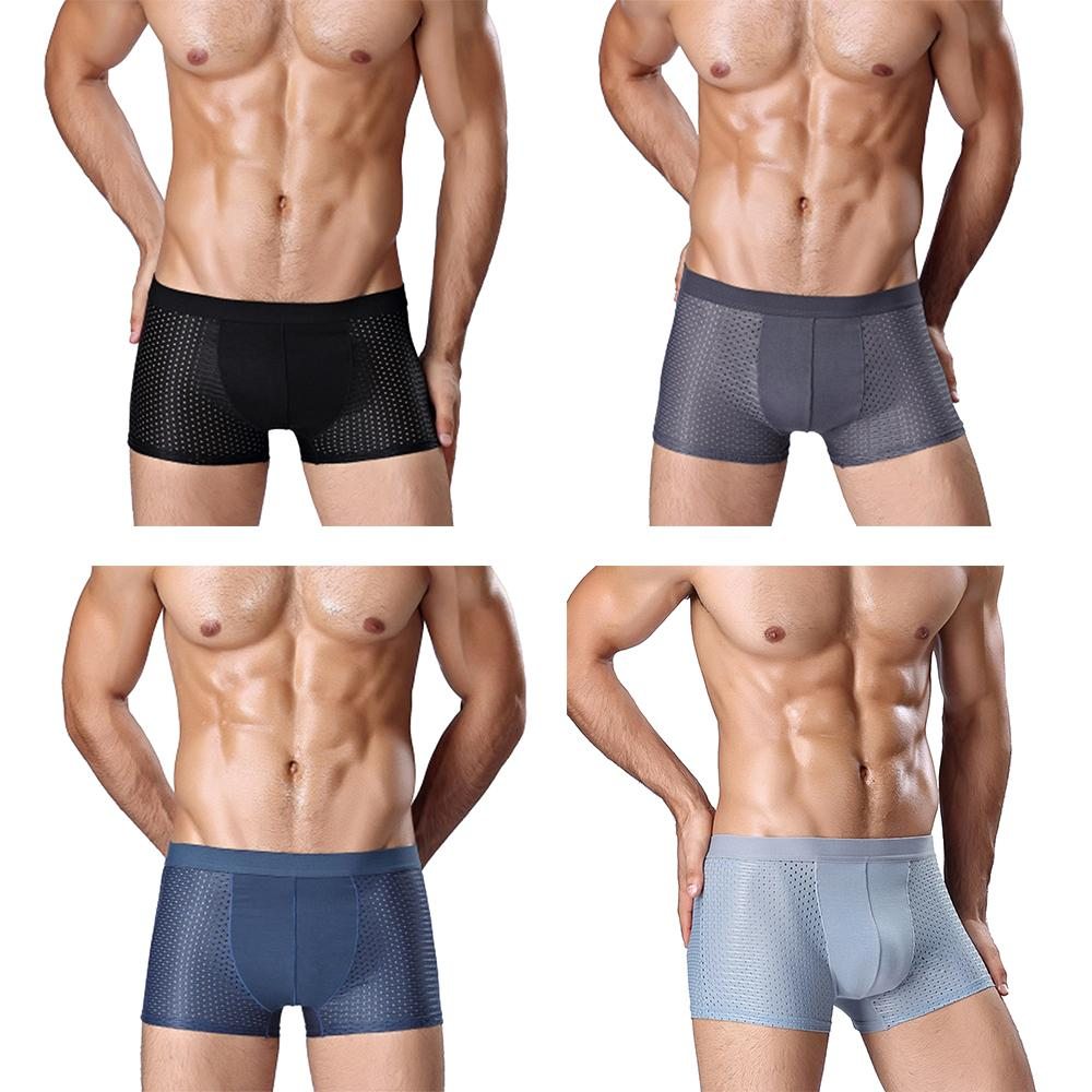 cde48036c061 High quality 4pcs Men's Briefs Men Underwear Breathable Bamboo Fiber  Underpants Boxer Ice Silk Pants for