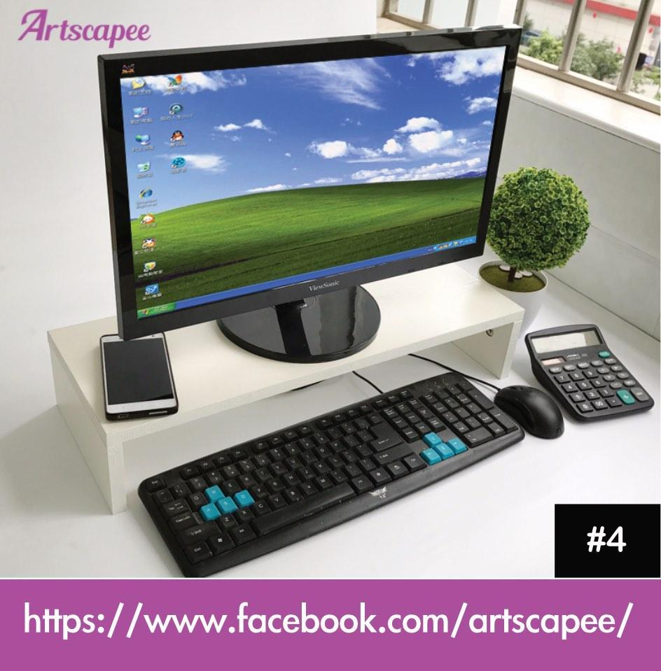 Monitor Stand Desktop Organiser White