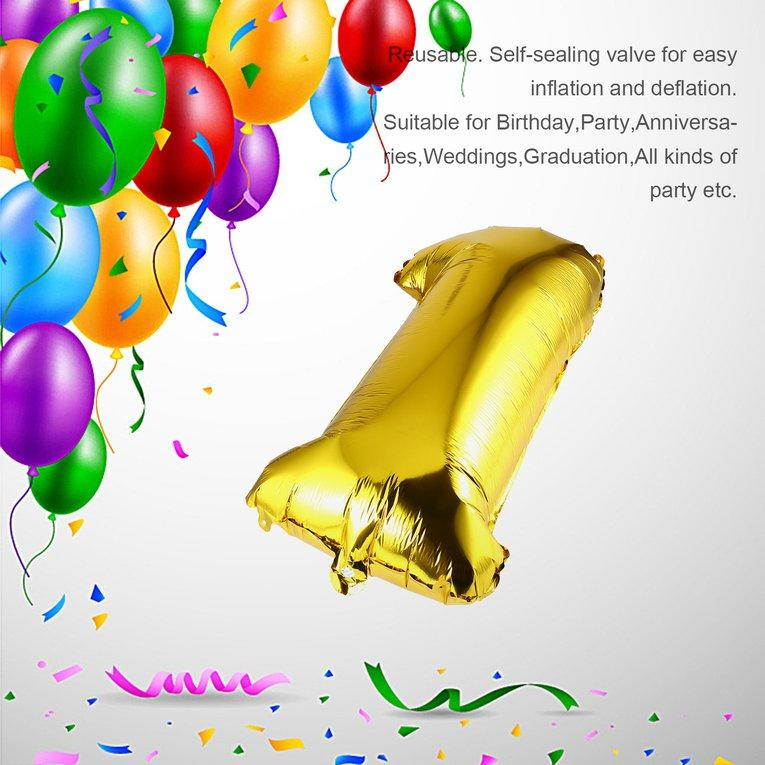 Caihui 30 Inch Foil Mylar Balloons for Wall Decoration Number Digit Foil Balloons
