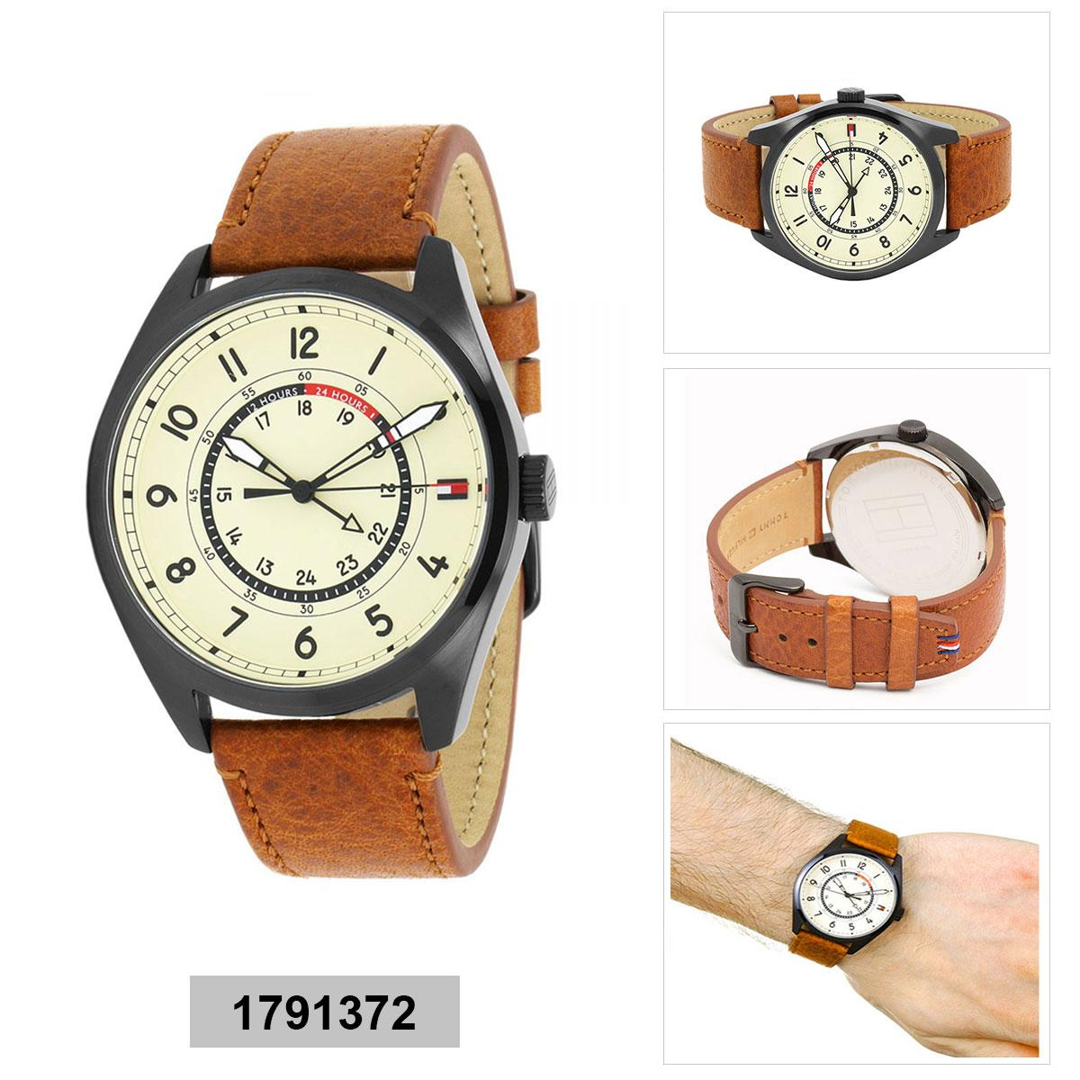 Tommy Hilfiger Watch Dylan Brown Stainless-Steel Case Leather Strap Mens 1791372