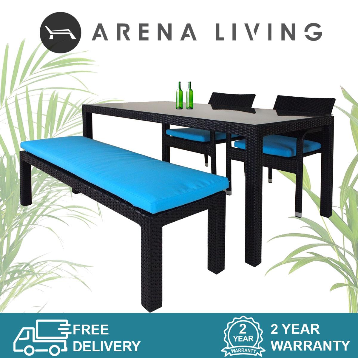 Addison 4 Pcs Dining Set, Blue Cushions, Outdoor Furniture by Arena Living