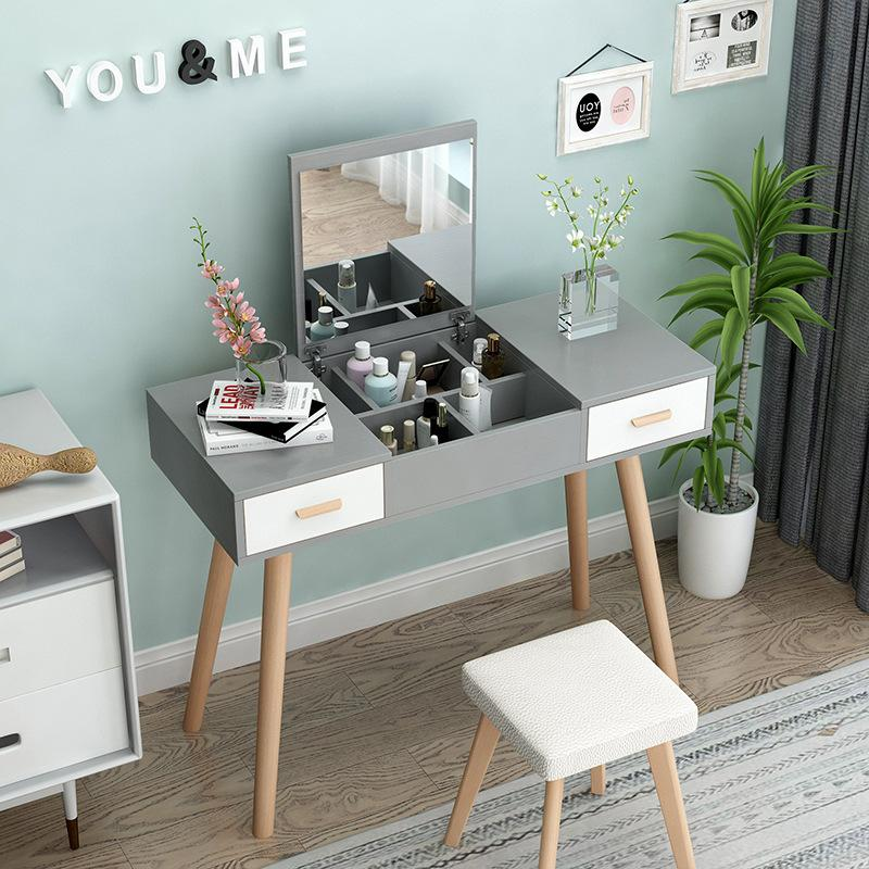 Fold Down Mirror Dressing Makeup Table With Chair - 90cm