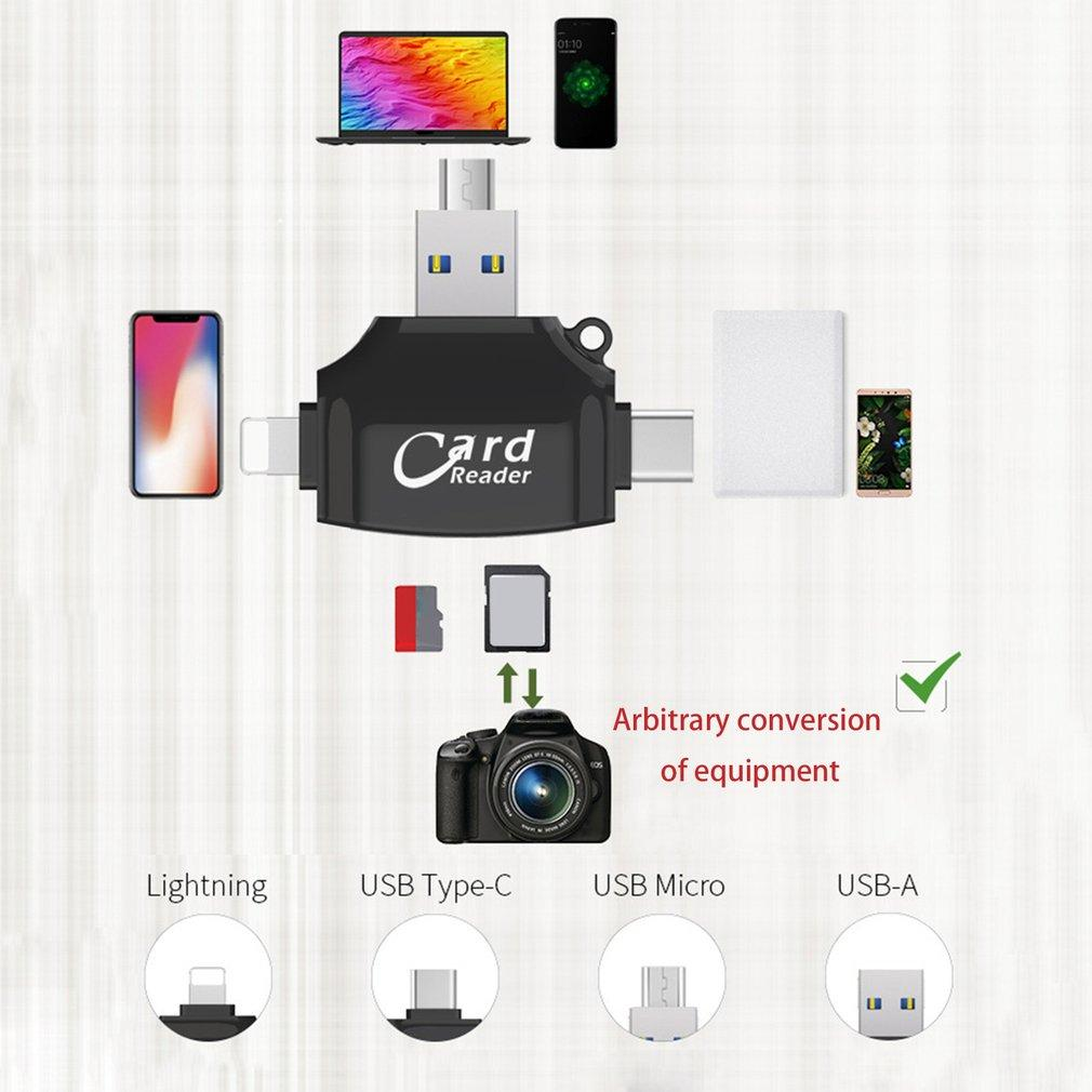 Global Micro SD & TF Card Reader Lightning Type C USB Connector Memory Card Reader Adapter 4-in-1 Flash Drive for iPhone iPad Android Mac Samsung S8 S8+ Note 8---Black
