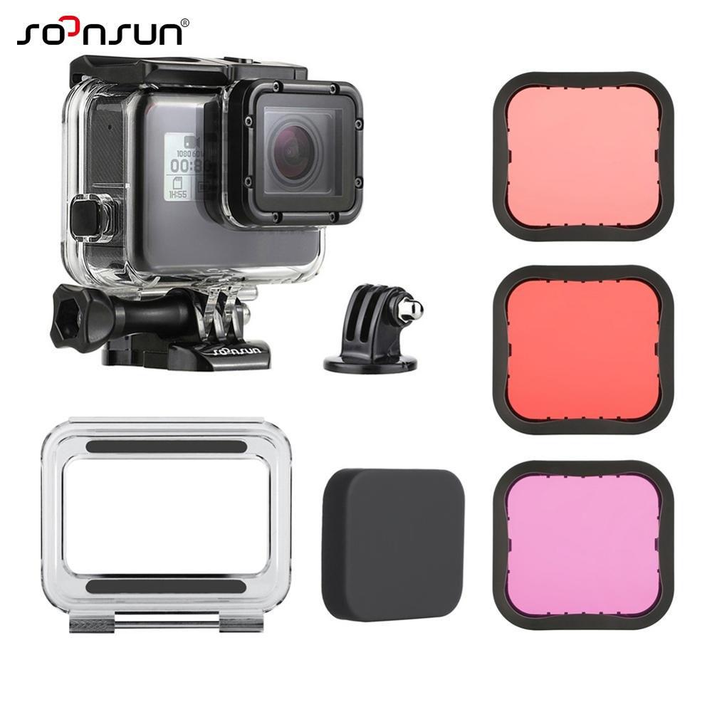 The Cheapest Soonsun 45M Underwater Diving Waterproof Housing Case With Touch Backdoor And Magenta Red Lens Filter Kit Set For Gopro Hero 2018 Hero 6 Hero 5 Black Action Camera Accessories Online
