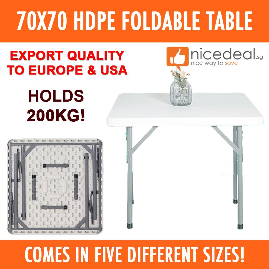 New 70x70cm HDPE Foldable Table/ Easy to Keep / 5 Different Sizes / Industrial Grade