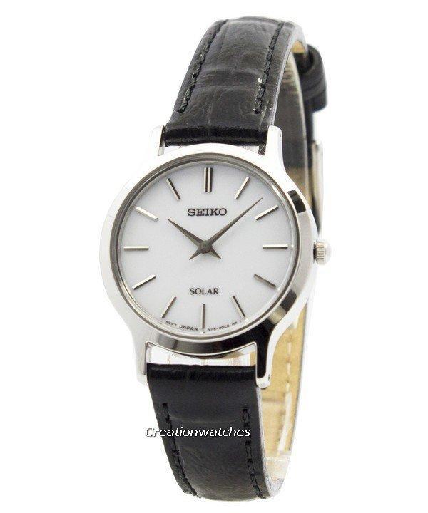 Seiko Solar White Dial Women's Black Leather Strap Watch SUP299P1