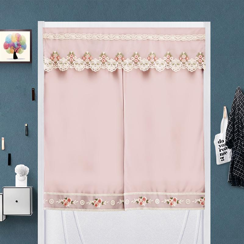 Modern minimalist fabric solid color kitchen curtain door curtain