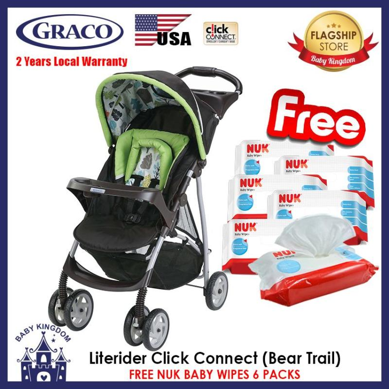 Graco Literider Click Connect Stroller (Bear Trail) - Local Warranty FREE NUK Wipes 6 Packs - SD4 Singapore