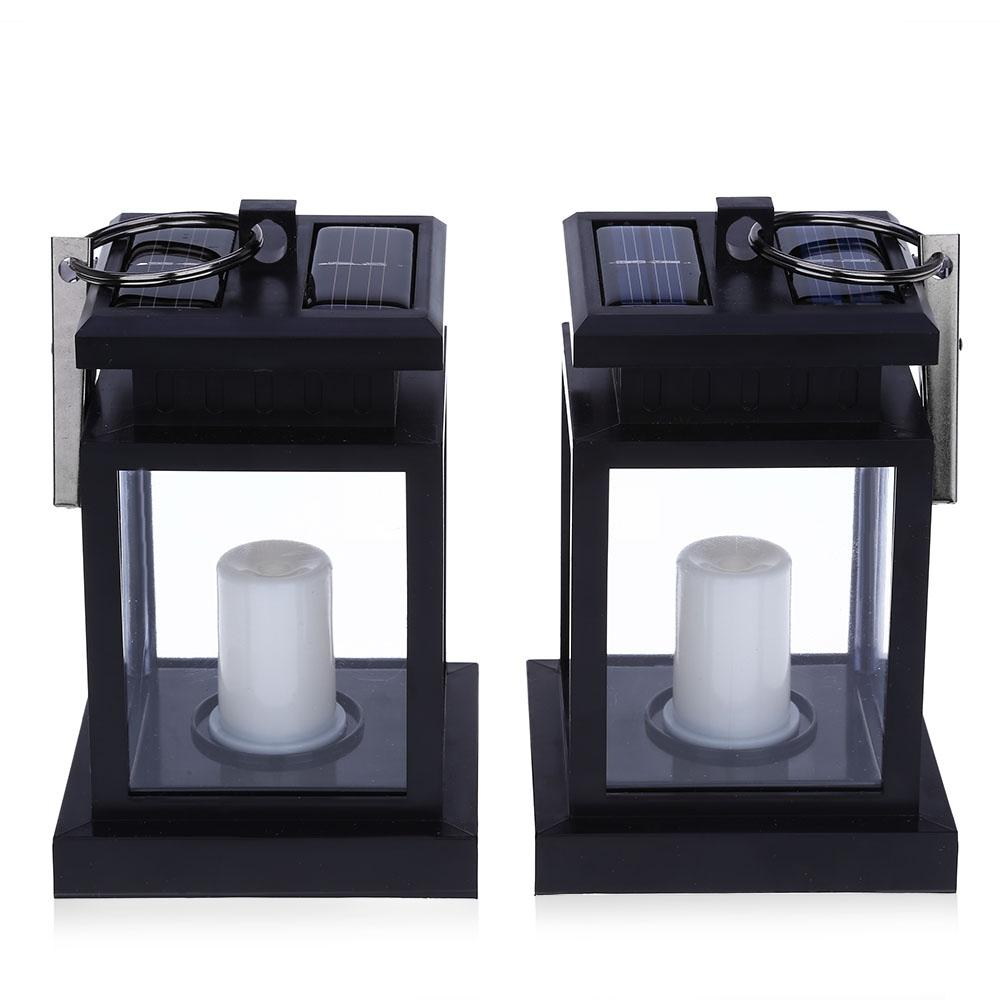 2PCS Solar Powered LED Outdoor Candle Lantern Umbrella Hang Lamp
