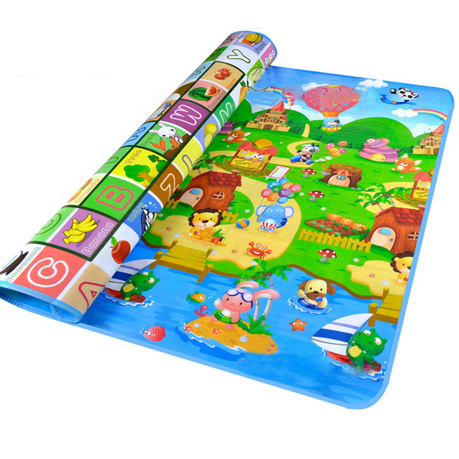 Double Sides Non-Slip Waterproof Fruit Animals Letter Baby Kid Care Crawling Floor Play Game Mat Pad For Indoor Outdoor Use 200 X 180cm By Stoneky.