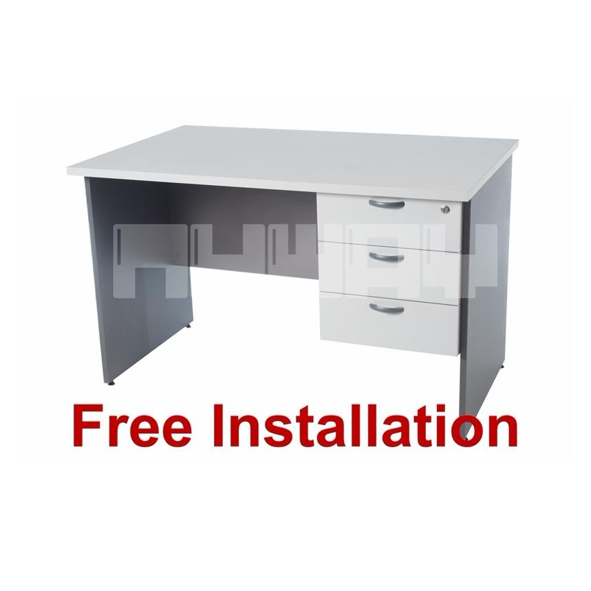 Writing Table / Study Table / Office Table (1.2 Meter) with Drawers - Grey